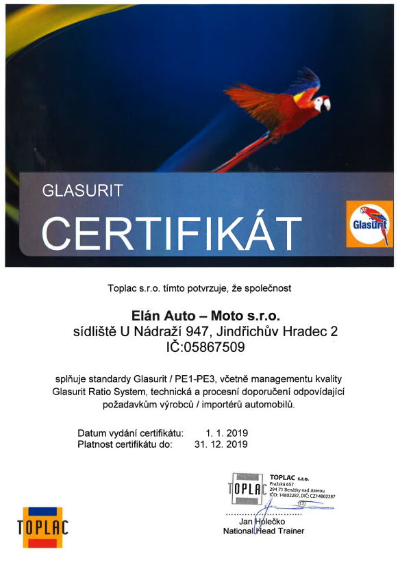 Certifikát Glasurit / PE1-PE3 (vč. Glasurit Ratio System)